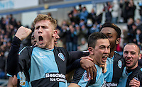 Jason McCarthy (left) of Wycombe Wanderers celebrates with goal scorer Luke O'Nien of Wycombe Wanderers during the Sky Bet League 2 match between Wycombe Wanderers and Bristol Rovers at Adams Park, High Wycombe, England on 27 February 2016. Photo by Kevin Prescod.