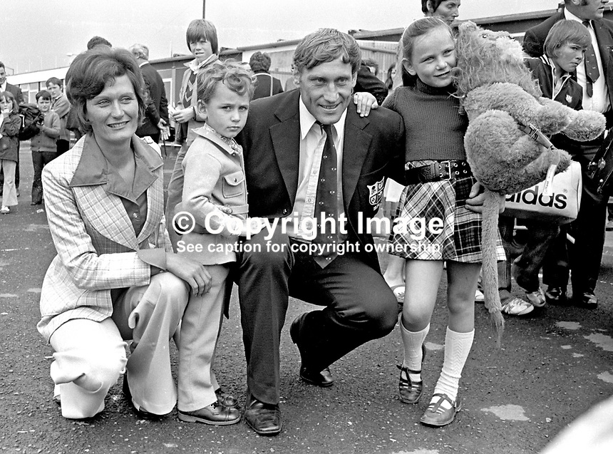 Irish International rugby player, Willy John McBride, pictured with his wife, Penny, son Paul  and daughter Amanda, at Belfast's Aldergrove Airport (later to be renamed Belfast International Airport) on his return from the British and Irish Lions Tour to South Africa. 197407300479a.<br />