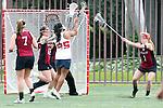 Santa Barbara, CA 02/18/12 - Mayan Zeitlin (Santa Clara #12), Tori Rutherford (Santa Clara #1), Alexis Montano (Arizona #25) in action during the Santa Clara-Arizona game at the 2012 Santa Barbara Shootout.  Santa Clara defeated Arizona 18-9.