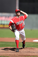 Batavia Muckdogs pitcher Chris Sadberry (32) delivers a pitch during a game against the Lowell Spinners on July 17, 2014 at Dwyer Stadium in Batavia, New York.  Batavia defeated Lowell 4-3.  (Mike Janes/Four Seam Images)