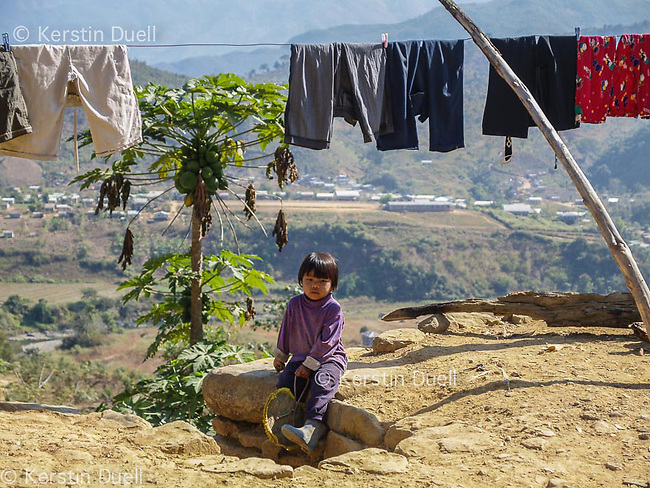 Chin refugee child in Mizoram, overlooking the Burmese border