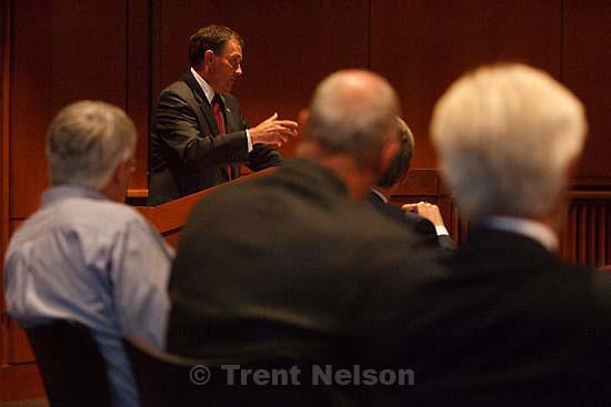 Utah Governor Gary Herbert  addressed the Commission on Strengthening Democracy at the University of Utah's Marriott Library Thursday, October 1 2009 in Salt Lake City.