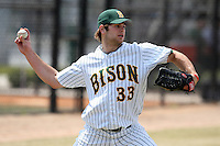 March 17, 2010:  Outfielder Luke Schmitz (33) of North Dakota State University Bison vs. Long Island University at Lake Myrtle Park in Auburndale, FL.  Photo By Mike Janes/Four Seam Images