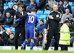 Antonio Conte manager of Chelsea hugs Eden Hazard of Chelsea as he substitutes him during the Premier League match at the Etihad Stadium, Manchester. Picture date: December 3rd, 2016. Pic Simon Bellis/Sportimage