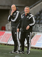 Pictured L-R: Swansea coaches Cameron Toshack and Gary Richards on the touch line Monday 25 April 2016<br /> Re: Play Off semi final, Swansea City AFC U21 v Aston Villa FC U21 at the Liberty Stadium, Swansea, UK
