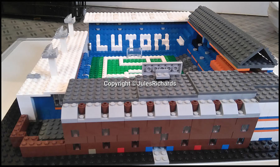 BNPS.co.uk (01202 558833)<br /> Pic: JulesRichards/BNPS<br /> <br /> Luton's Kenilworth Road.<br /> <br /> Here lego, here lego, here lego...<br /> <br /> A supermarket manager is building all 92 Football League grounds out of Lego.<br /> <br /> Jules Richards built his first stadium out of Lego he found in his loft one afternoon 18 months ago and he is now over two thirds of the way to completing all 92 Premier League, Championship, League One and League Two grounds.<br /> <br /> The 44 year-old spends up to 12 hours on each stadium and uses on average 1,300 Lego blocks to make them look uncannily similar to the real thing.