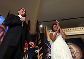 Washington, DC - January 20, 2009 -- United States President Barack Obama speaks as his wife First Lady Michelle Obama looks on during MTV & ServiceNation: Live From The Youth Inaugural Ball at the Hilton Washington on January 20, 2009 in Washington, DC. President Barack Obama was sworn in as the 44th President of the United States today, becoming the first African-American to be elected President of the US.  .Credit: Mark Wilson - Pool via CNP