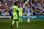 CD Leganes's Youssef En-Nesyri and FC Barcelona's Sergio Busquets during La Liga match between CD Leganes and FC Barcelona at Butarque Stadium in Madrid, Spain. September 26, 2018. (ALTERPHOTOS/A. Perez Meca)