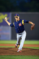State College Spikes pitcher Tyler Bray (56) delivers a pitch during a game against the Auburn Doubledays on July 6, 2015 at Falcon Park in Auburn, New York.  State College defeated Auburn 9-7.  (Mike Janes/Four Seam Images)