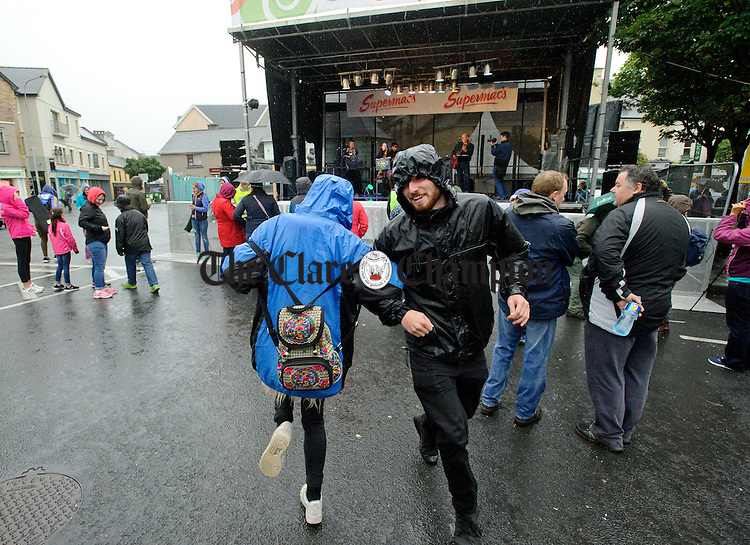 Dancing on the street to the music of Skazz at Fleadh Cheoil na hEireann in Ennis. Photograph by John Kelly.
