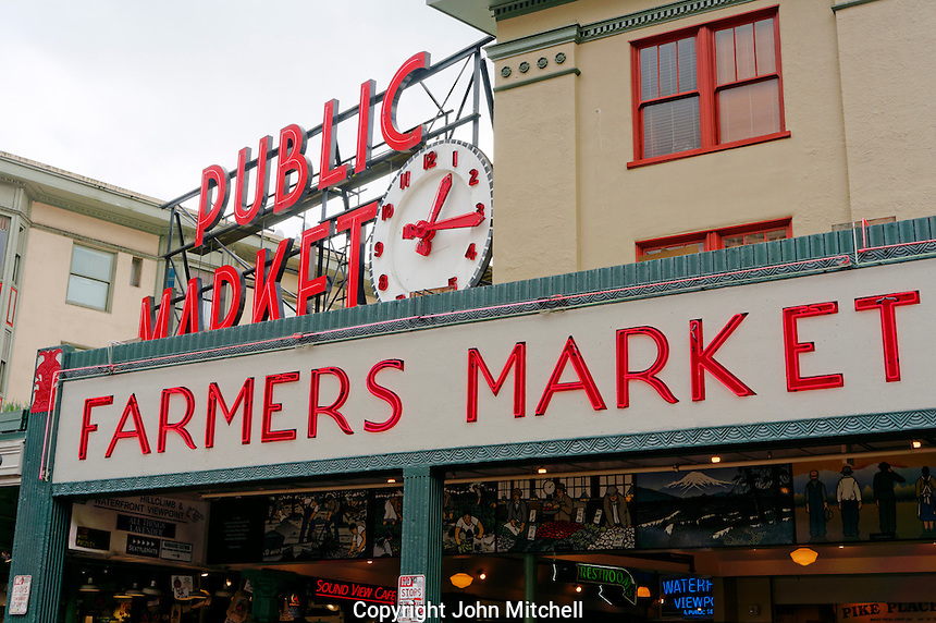 Neon signs at entrance to the Pike Place Public Market, Seattle, Washington state, USA