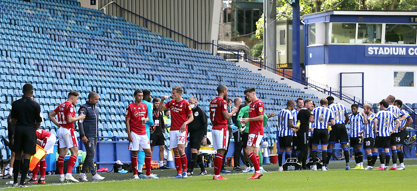 Players pause for a drinks break<br /> <br /> Photographer Rich Linley/CameraSport<br /> <br /> The EFL Sky Bet Championship - Sheffield Wednesday v Nottingham Forest - Saturday 20th June 2020 - Hillsborough - Sheffield <br /> <br /> World Copyright © 2020 CameraSport. All rights reserved. 43 Linden Ave. Countesthorpe. Leicester. England. LE8 5PG - Tel: +44 (0) 116 277 4147 - admin@camerasport.com - www.camerasport.com