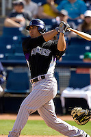 March 13, 2010 - Colorado Rockies' Cole Garner #64 at-bat during a spring training game against the Milwaukee Brewers at Maryvale Baseball Park in Phoenix, Arizona.