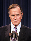 "United States President-elect George H.W. Bush announces he has named retired Admiral James D. Watkins as Secretary of Energy and former Secretary of Education William J. Bennett to the newly created position of ""Drug Czar"" to coordinate the Federal Government's war on drugs, in Washington, D.C. on January 12, 1989.<br /> Credit: Arnie Sachs / CNP"