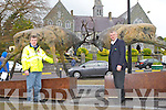 Eddie O'Connell and Simon Carmody admiring the Stag's which have been erected outside the Courthouse in Killarney..