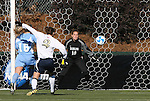 07 December 2008: Notre Dame's Kerri Hanks (2) beats North Carolina's Rachel Givan (16) and Ashlyn Harris (18) for a goal seventeen seconds into the game. The University of North Carolina Tar Heels defeated the Notre Dame Fighting Irish 2-1 at WakeMed Soccer Park in Cary, NC in the championship game of the 2008 NCAA Division I Women's College Cup.