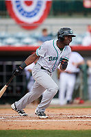 Daytona Tortugas left fielder Taylor Trammell (5) follows through on a swing during a game against the Florida Fire Frogs on April 8, 2018 at Osceola County Stadium in Kissimmee, Florida.  Daytona defeated Florida 2-1.  (Mike Janes/Four Seam Images)