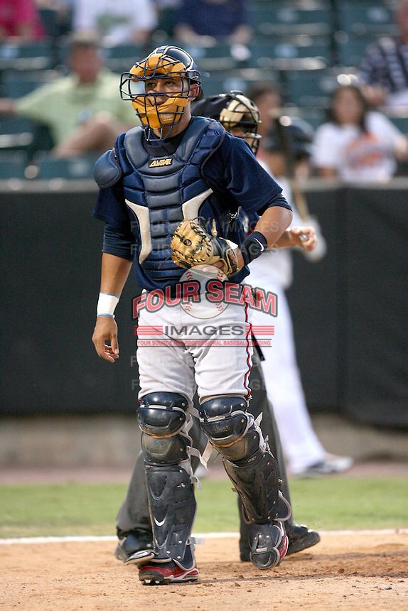 July 2, 2009: Mississippi Braves catcher J.C. Boscan at Pringles Park in Jackson, TN. The Braves are the Southern League AA affiliate of the Atlanta Braves. Photo by: Chris Proctor/Four Seam Images