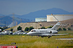 Hawker 800XP corprorate turbo jet on runway of suburban airfield, Buchanan Field airport, Contra Costa Co., California