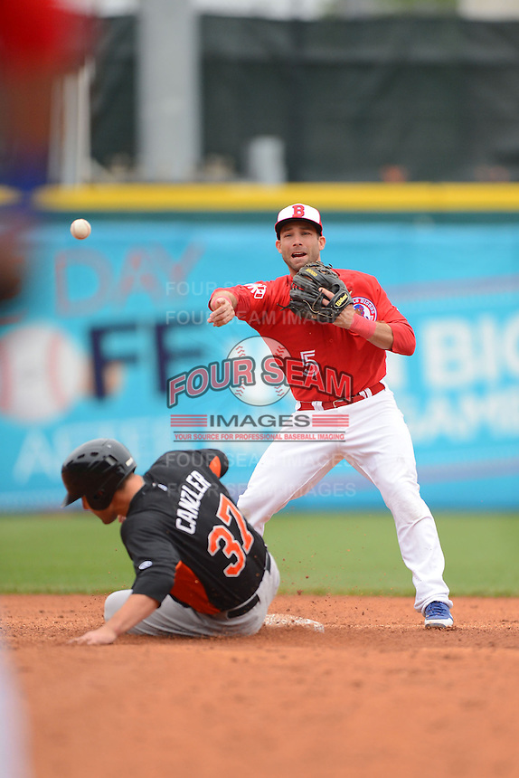 Buffalo Bisons second baseman Jim Negrych #5 attempts to turn a double play as Russ Canzler #37 slides in during a game against the Norfolk Tides on May 9, 2013 at Coca-Cola Field in Buffalo, New York.  Norfolk defeated Buffalo 7-1.  (Mike Janes/Four Seam Images)
