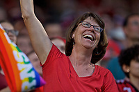 Portland, OR - Saturday July 22, 2017: Portland Thorns FC fans celebrate during a regular season National Women's Soccer League (NWSL) match between the Portland Thorns FC and the Washington Spirit at Providence Park.