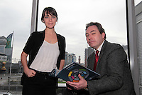 NO FEE PICTURES .15/3/12 Ashleigh Shaheen, IPRT with Mark Kelly, Director ICCL at the Your Rights Right Now campaign live streaming of Ireland's Universal Periodic Review live from Geneva, at Liberty Hall, Dublin. Picture:Arthur Carron/Collins