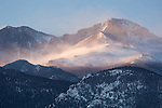 sunrise, snow, wind, light, winter, Mount Meeker, Longs Peak, mountain, peak, Rocky Mountain National Park, Colorado, USA