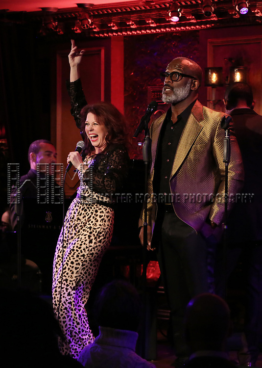 """Kirsten Wyatt and BeBe Winans on stage during a Song preview performance of the BeBe Winans Broadway Bound Musical """"Born For This"""" at Feinstein's 54 Below on November 5, 2018 in New York City."""