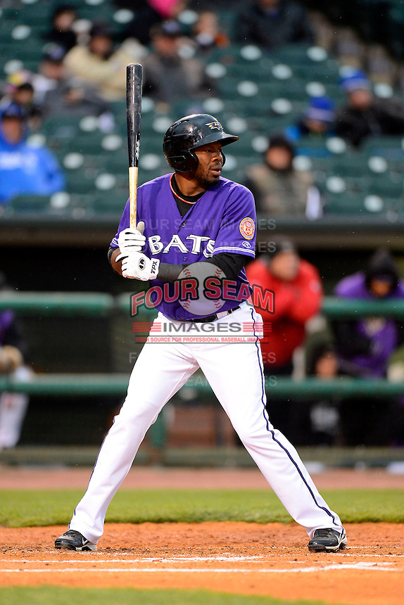 Louisville Bats outfielder Denis Phipps #23 during a game against the Indianapolis Indians on April 19, 2013 at Louisville Slugger Field in Louisville, Kentucky.  Indianapolis defeated Louisville 4-1.  (Mike Janes/Four Seam Images)