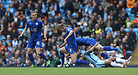 Manchester City's Raheem Sterling is dispossessed by Leicester City's Marc Albrighton (left) and Ben Chilwell<br /> <br /> Photographer Stephen White/CameraSport<br /> <br /> The Premier League - Manchester City v Leicester City - Saturday 13th May 2017 - Etihad Stadium - Manchester<br /> <br /> World Copyright &copy; 2017 CameraSport. All rights reserved. 43 Linden Ave. Countesthorpe. Leicester. England. LE8 5PG - Tel: +44 (0) 116 277 4147 - admin@camerasport.com - www.camerasport.com