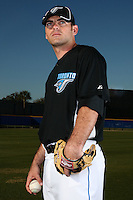 March 1, 2010:  Pitcher Zechry Zinicola (50) of the Toronto Blue Jays poses for a photo during media day at Englebert Complex in Dunedin, FL.  Photo By Mike Janes/Four Seam Images