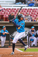 Wisconsin Timber Rattlers shortstop Antonio Pinero (3) at bat during a Midwest League game against the Lake County Captains on May 10, 2019 at Fox Cities Stadium in Appleton, Wisconsin. Wisconsin defeated Lake County 5-4. (Brad Krause/Four Seam Images)