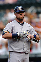 Milwakee Brewers infielder Casey McGehee #14 during a game against the New York Mets at Citi Field on August 20, 2011 in Queens, NY.  Brewers defeated Mets 11-9.  Tomasso DeRosa/Four Seam Images