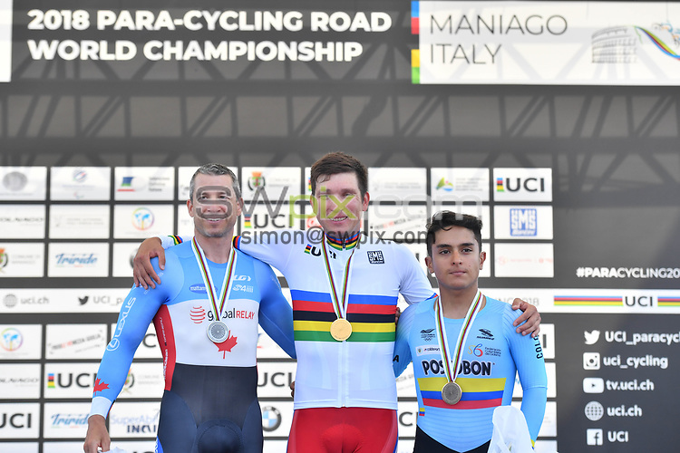 Picture by Simon Wilkinson/SWpix.com 03/08/2018 - Cycling -  UCI 2018 Para-Cycling Road World Championships, MANIAGO, ITALY - Day 2 Individual TIME TRIAL<br /> -  Podiums Rainbow Jersey - stripes
