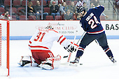 Sean Maguire (BU - 31), Patrick Kirtland (UConn - 24) - The Boston University Terriers defeated the visiting University of Connecticut Huskies 4-2 (EN) on Saturday, October 24, 2015, at Agganis Arena in Boston, Massachusetts.