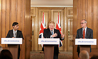 17/03/2020 - Chancellor Rishi Sunak, British Prime Minister Boris Johnson and Chief scientific officer Patrick Vallance give a press briefing about the ongoing situation with the COVID-19 coronavirus outbreak, inside 10 Downing Street in London. For most people, the new coronavirus causes only mild or moderate symptoms, such as fever and cough. For some, especially older adults and people with existing health problems, it can cause more severe illness, including pneumonia. Photo Credit: ALPR/AdMedia