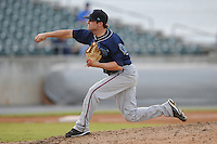 The Mobile BayBears pitcher Bryan Woodall #15 delivers a pitch during  game four of the Southern League Championship Series between the Mobile Bay Bears and the Tennessee Smokies at Smokies Park on September 18, 2011 in Kodak, Tennessee.  The BayBears won the Southern League Championship 6-4.  (Tony Farlow/Four Seam Images)