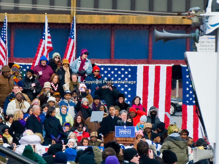 Wilmington Inaugural Train Rally President-Elect Obama held a whistle-stop rally in Tubman Garrett Riverfront Park next to the Wilmington Station, where he stopped during his inaugural rail journey to be joined by Vice President-Elect Joe Biden and his family. He spoke to the crowd about the challenges ahead and called on Americans join him in perfecting the Union.