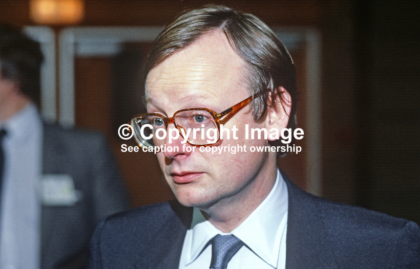 John Selwyn Gummer, MP, chairman, Conservative Party, UK, 19840150JSG1.<br />