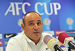 Team formers from Kuwait SC and Kitchee attends to the press conference prior to the the 2015 AFC Cup 2015 Quarter Finals 1st leg match on August 25, 2015 at the Kuwait S.C. Stadium in Kuwait City, Kuwait. Photo by Adnan Hajj / World Sport Group