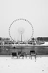 Paris, France. December 17th 2009..Snow Storm in Paris..Jardin des Tuileries (1st Arrondissement)