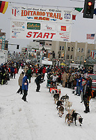Hugh Neff leaves the star line in Anchorage on Saturday March 1st during the ceremonial start day of the 2008 Iidtarod Sled Dog Race.