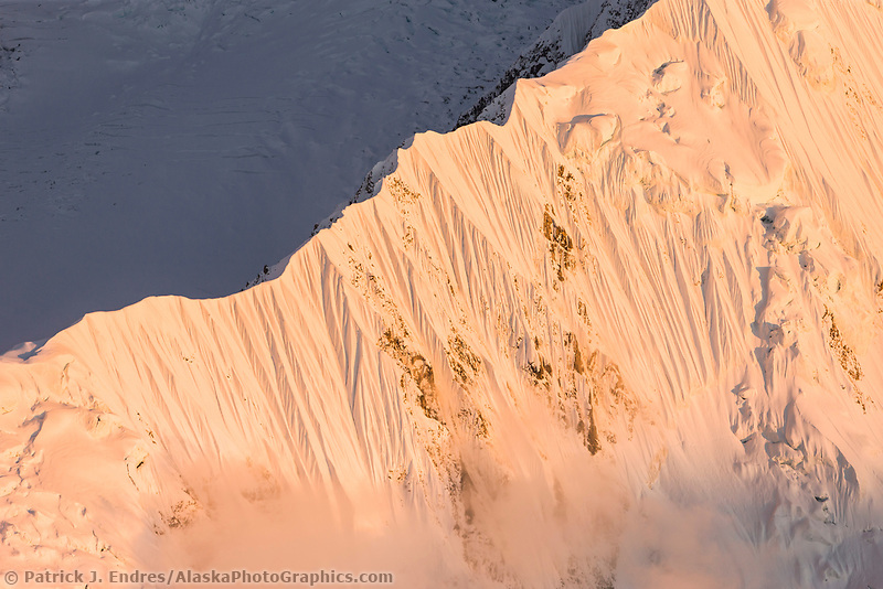 Steep fluted snowy ridge of Pioneer Peak, Denali National Park, Interior, Alaska.