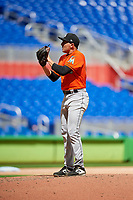 Miami Marlins pitcher Alex Vesia (64) looks in for the sign during a Florida Instructional League game against the Washington Nationals on September 26, 2018 at the Marlins Park in Miami, Florida.  (Mike Janes/Four Seam Images)
