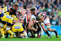 Mike Fitzgerald of Leicester Tigers looks on at a scrum. Aviva Premiership match, between Leicester Tigers and Worcester Warriors on October 8, 2016 at Welford Road in Leicester, England. Photo by: Patrick Khachfe / JMP