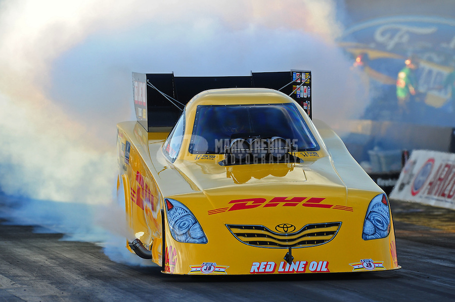 Oct. 14, 2011; Chandler, AZ, USA; NHRA funny car driver Jeff Arend during qualifying at the Arizona Nationals at Firebird International Raceway. Mandatory Credit: Mark J. Rebilas-