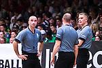 S&ouml;dert&auml;lje 2014-04-22 Basket SM-Semifinal 7 S&ouml;dert&auml;lje Kings - Uppsala Basket :  <br /> Domare Appe Kalpakas , Saulius Racys och Daniel Berler<br /> (Foto: Kenta J&ouml;nsson) Nyckelord:  S&ouml;dert&auml;lje Kings SBBK Uppsala Basket SM Semifinal Semi T&auml;ljehallen domare referee ref