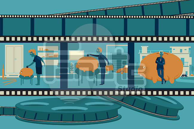 Illustrative image of man and piggybank imprinted on film reel representing life cycle