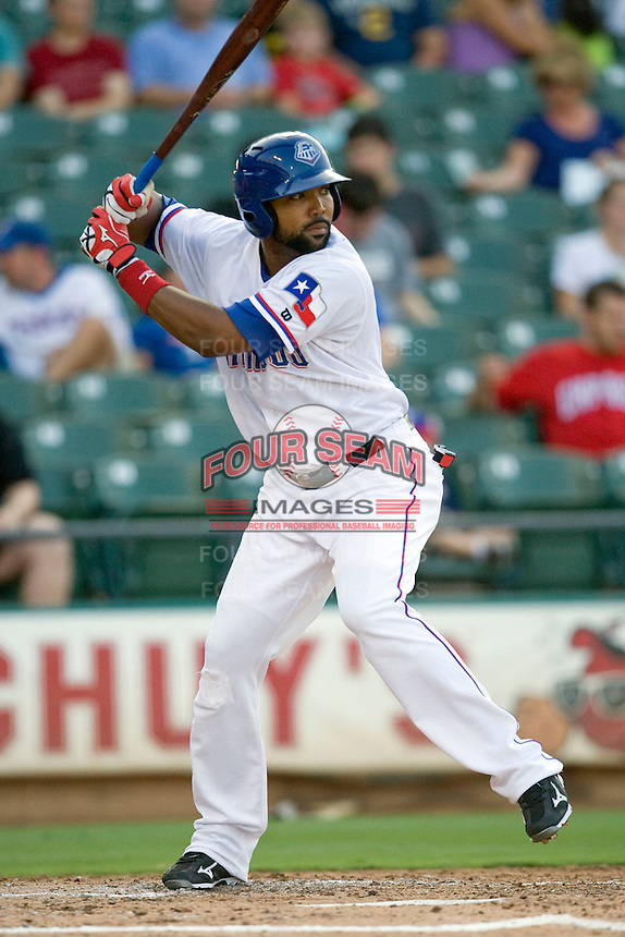 Round Rock Express outfielder Joey Butler #16 at bat during a game against the New Orleans Zephyrs at the Dell Diamond on July 21, 2011 in Round Rock, Texas.  New Orleans defeated Round Rock 7-4.  (Andrew Woolley/Four Seam Images)