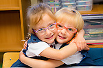 Twins, Lillian and Suzanne Marzec on their first day at school in Scoil Eoin on Thursday